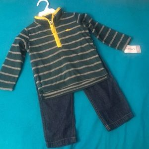 Set of Fleece Sweater and Faux Jeans by Carter's